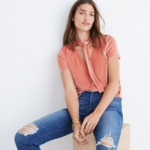 Madewell Velvet Tie Neck Top